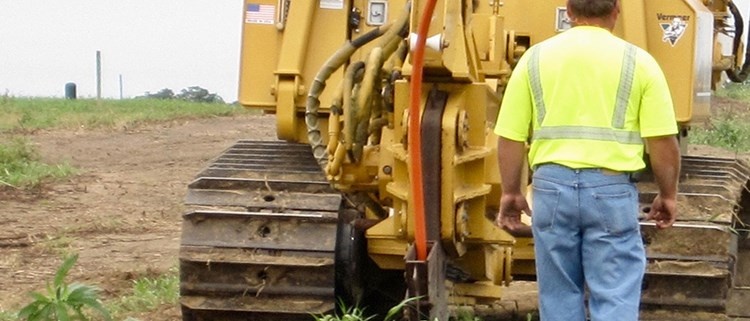 plowing fiber optic cable